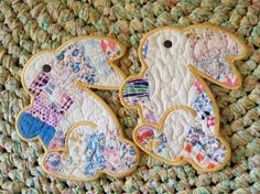 Quilted Mug Rugs Vintage Recycled Quilt Bunnies..#awesome color.....#perfectsize.....#greatgift on Etsy, $18.00