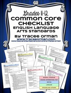 Common Core ELA Standards Checklists for Grades 11-12