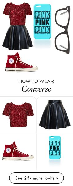 """""""red and black"""" by taytaystylesirwin on Polyvore featuring moda, MSGM, Parker, Converse y Ray-Ban"""