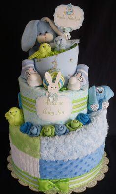 Bunnies and Birds Boys Diaper Cake www.facebook.com/DiaperCakesbyDiana