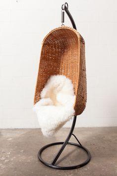 hanging rattan egg chair // c1970s.