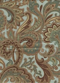 Exceptional 100% Cotton Sateen scrolled leaf floral pattern in a wonderful aqua and cocoa color combination.