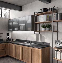 Kitchen space 2020 on Behance Kitchen Cupboard Designs, Kitchen Cupboard Handles, Kitchen Room Design, Kitchen Units, Home Decor Kitchen, Kitchen Interior, Home Kitchens, Industrial Kitchen Design, Contemporary Kitchen Design