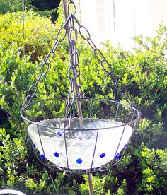 Shabby Chic Hanging Bird Bath - repurpose that old glass bowl - add few colorful marbles - set in hanging basket holder and voila - a beautiful bit of color for your garden