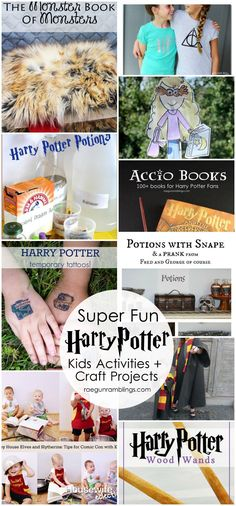 Must do all these activities with the kids. Fun Harry Potter projects and summer fun