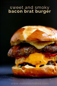 Sweet and Smoky bacon Brat Burger via Melanie Makes; Meal Plans Made Simple Brat Burger Recipe, Burger Recipes, Grilling Recipes, Beef Recipes, Cooking Recipes, Top Recipes, Burger And Fries, Good Burger, Yummy Burger