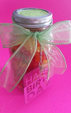 Made this for my daughter's birthday..never thought just a canning jar, add favorite candy, ribbon and personal message would be such and awesome gift, she loved it...especially the rolled up $5 bills in the center cardboard cylinder!!