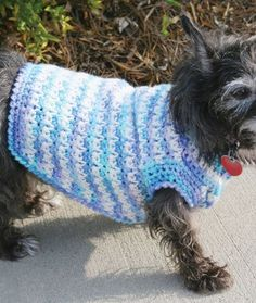 A free easy crochet dog sweater pattern. I made this crochet sweater for my Yorkie All Free Crochet, Easy Crochet, Knit Crochet, Ravelry Crochet, Crochet Crowd, Beginner Crochet, Unique Crochet, Beautiful Crochet, Dog Sweater Pattern