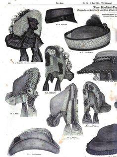 Civil War 1861 fashion plate Der Bazar; Victorian millinery, hats, headdresses. http://books.google.com/books?id=OJ1LAAAAcAAJ&printsec=frontcover&dq=der+bazar+1861&hl=en&sa=X&ei=25lwUvWyGM_PigLCyoHQCg&redir_esc=y#v=onepage&q=der%20bazar%201861&f=false