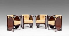 """Designed by: Koloman Moser, 1907 Executed by: J. & J. Kohn, from 1908 on, model no. 422 C & F, marked: branded """"J. & J. Kohn, Wien Austria""""  Bent beech and plywood, dyed to rosewood, polished, surface cleaned and slightly restored, linear brass inlays, renewed upholstery, excellent original condition."""