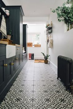 Berkeley Charcoal Tiles In Utility Boot Room - Utility And Boot Room With Down Pipe Painted Custom Tiles And Patterned Tile Floor. floor patterns Rebecca's Utility and Boot Room - Rock My Style Boot Room Utility, Utility Cupboard, Kitchen Decorating, Utility Room Designs, Utility Room Ideas, Tiled Hallway, Room Tiles, Wall Tiles, Cement Tiles