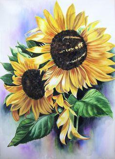 "Watercolor Painting Original, Sunflowers"" Evening Light "", Watercolor Original by Diana M Turner, 22x30,  Yellow,  Orange."