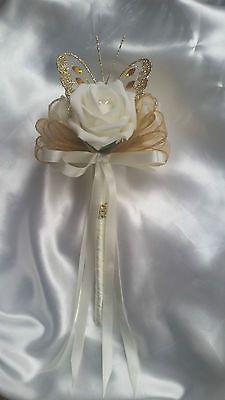 Wedding Flowers Bridesmaids Bouquet Wands Ivory/Gold Butterfly Flower Girl
