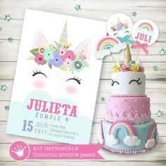 Melinterest Argentina. Kit Imprimible Unicornio Arcoiris Pastel Candy Invitación 3