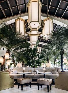 hotel restaurant lava stone table tops Miami Four Seasons Surf Club produced by Ranieri Lava Stone Commercial Interior Design, Commercial Interiors, Modern Interior Design, Interior Architecture, Architecture Plan, Luxury Interior, Room Interior, Restaurant Design, Restaurant Lighting