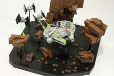 LEGO Micro TIES chasing a Micro Falcon through an asteroid field. #StarWars
