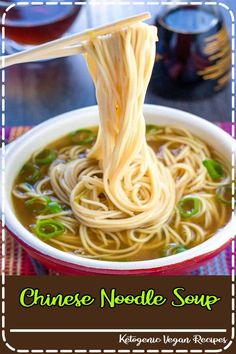 A bowl of quick and easy Chinese noodle soup with chopsticks holding some noodles above the bowl A delicious soup with plenty of vibrant flavors that's made all in one pot. Once you try this recipe, you'll never go back to the packaged soups again! Best Soup Recipes, Healthy Recipes, Healthy Food, Vegetarian Recipes Noodles, Healthy Chinese Food, Delicious Recipes, Healthy Ramen Noodles, Vegan Ramen, Ramen Recipes