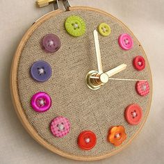 Button Clock: Make one for yourself or one for a gift — were pretty sure no one can resist the charm of a handmade button clock. You probably already have 12 buttons lying around the house to get you started! Source: LAM Designs