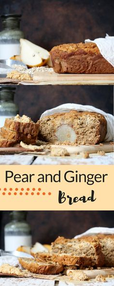 | vegan | bread | gluten free baking | ginger || Gluten free quick bread that has the perfect hint of ginger and full pears inset inside, leading to the perfect snack, breakfast or healthy, vegan dessert.
