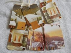 Upcycled Christmas Tag Winter Church Scene by EllieMarieDesigns, $5.00