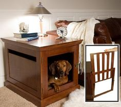 Indoor Dog House by DenHaus  The indoor dog house is a superbly sturdy piece of furniture on the outside and the cozy space your dog craves on the inside. You can put that favorite vase of flowers on top of your dog's new home. - See more at: http://www.large-dog-houses.com/blog/lang/us/indoor-dog-house-townhaus/#sthash.pPIMdNg5.dpuf
