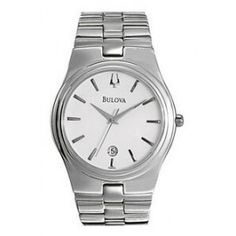 Bulova Men's White Round Dial Watch w/ Stainless Steel Case