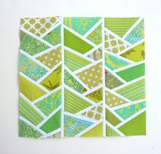 Wonky Herringbone Quilt Block. One colour but different tones, paired with white. (NBO)