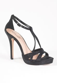 High Heel Platform Satin Sandal with Rhinestones from Camille La Vie