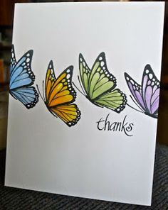 thanks - I have this stamp, beautiful use of it! Butterfly Birthday Cards, Butterfly Cards, Flower Cards, Butterfly Kit, Butterfly Artwork, Card Making Techniques, Copics, Sympathy Cards, Card Tags
