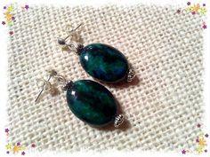 Oval,Chrysocolla,gemstone,beads,silver,earrings.''MAGDALENA''8