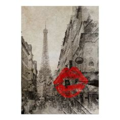 Vintage Romantic Paris Eiffel Tower Posters