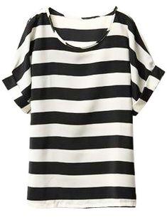 Black White Striped Batwing Chiffon T-Shirt - Sheinside.com