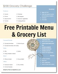 $100 Grocery Budget - What to buy when you are on a tight budget. Includes printable menu and grocery list.