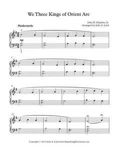 We Three Kings of Orient Are. Easy Christmas Carol for piano students. Print it out, or save it as digital music on your iPad!