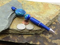 Royal Blue Beaded Glass Pen Gift with Swirl Lamp Work Bead, Refillable Metal Pen Blue Ink, Perfect Gift for Her Birthday Anniversary Present