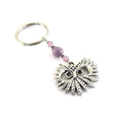 Keychain Light Purple Silver Owl by CinLynnBoutique on Etsy