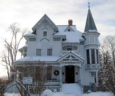 The revived Gothic style wasn't restricted to architecture. Tidy lines and commercial products are characteristics of modern-day architecture, no matter how the design isn't restricted … Victorian Cottage, Victorian Homes, Vintage Homes, Victorian Era, Tower House, Victorian Architecture, Historic Architecture, House Architecture, Beautiful Architecture