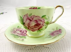 Aynsley Green Tea Cup and Saucer with Pink Cabbage Rose, Vintage Tea Cup and Saucer, Bone China