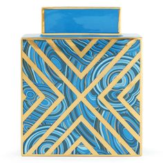 blue malachite x square vase by jonathan adler 148