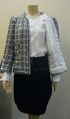 Classic French Jacket #2 - Linton Tweed fabric, hand made trim. I have been attracted to the Black and White