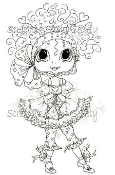Digital Digi Stamps Big Eye Big Head Dolls Digi Talula Twinkles Toes By Sherri Baldy. $3.00, via Etsy.