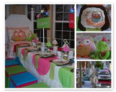 I love this birthday idea! Create your own pajama club for your daughter's slumber party. This mom got her husband to make the footboard and headboard which he attached it to the table. Then she switched two bedding together to make one big table cloth. She also sewn with the birthday theme.
