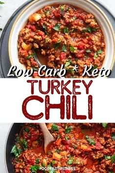 Serve up this delicious low-carb turkey chili recipe at your next family gathering. Easy to prep this healthy chili is a fan favorite and will keep everyone coming back for more. Gluten Free Recipes For Dinner, Easy Dinner Recipes, Appetizer Recipes, Healthy Chili, Healthy Soup Recipes, Paleo Meals, Keto Chili Recipe, Chili Recipes, Blog Food