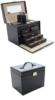 Jewelry Boxes 3820 MultiLayers Large Black Leather Jewelry Box