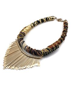 Brown Metal Fringe Bib Necklace #zulily #zulilyfinds