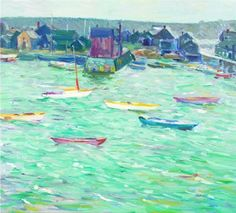 """""""Harbor and Town,"""" Charles Salis Kaelin, oil on canvas, 18 x 20"""", private collection."""