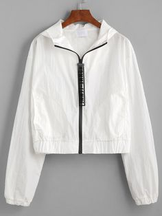 Shop online for the latest collection of Fall Find the best styles and deals at ROMWE right now! Sporty Outfits, Summer Fashion Outfits, Kpop Outfits, Girl Outfits, Cute Outfits, White Windbreaker, Windbreaker Outfit, Hoodie Outfit, Diy Clothes Design