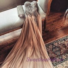 2016 champagne chiffon open back sweetheat dress for teens, ball gown, prom dresses long #coniefox #2016prom