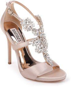 Women's Badgley Mischka Leah Embellished Sandal, Size 9 M - Beige