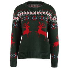 Crew Collar Christmas Sweater With Reindeer Graphic (205 HKD) ❤ liked on Polyvore featuring tops, sweaters, graphic sweaters, crew neck top, graphic crew neck sweaters, crew-neck tops and christmas sweaters